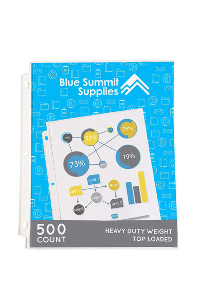 Sheet Protectors, Heavy Duty, 3 Hole, 500 Pack Sheet Protector Blue Summit Supplies