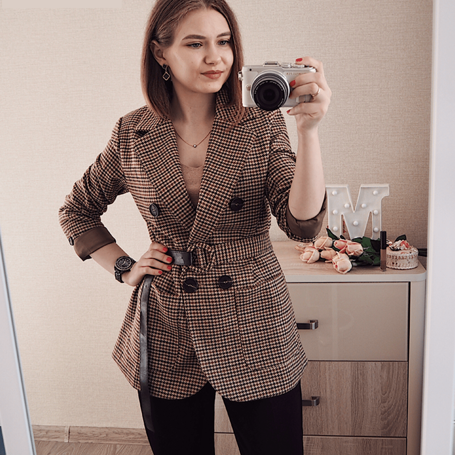 Blazer Carreaux Beige Femme | Miss Carreaux