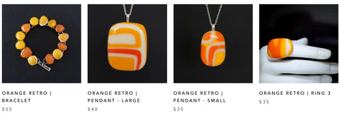 Orange Retro jewellery inspired by the 60ies, A FIERY HEART