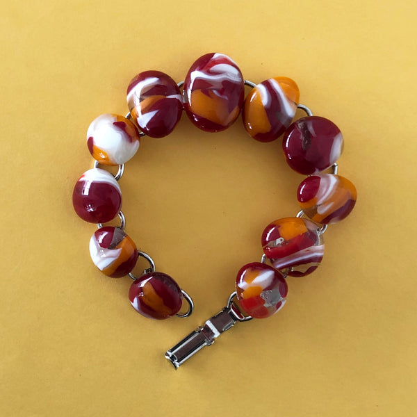 bold red orange and white fused glass bracelet