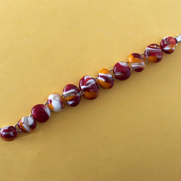 link bracelet with fused glass cabochons in sunset colours