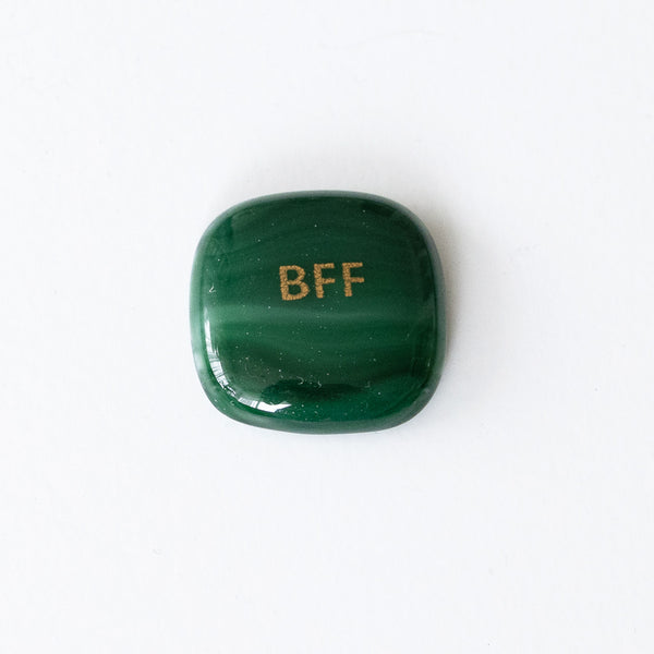 "Glass stone with golden ""BFF"" decal"