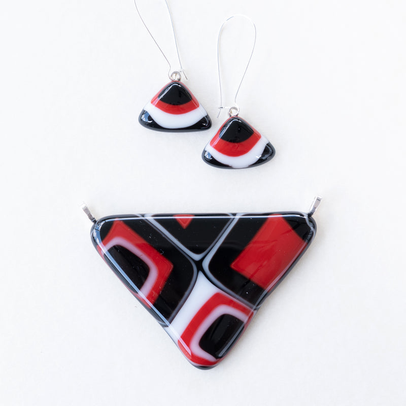 Black Red White | Pendant - Large triangle