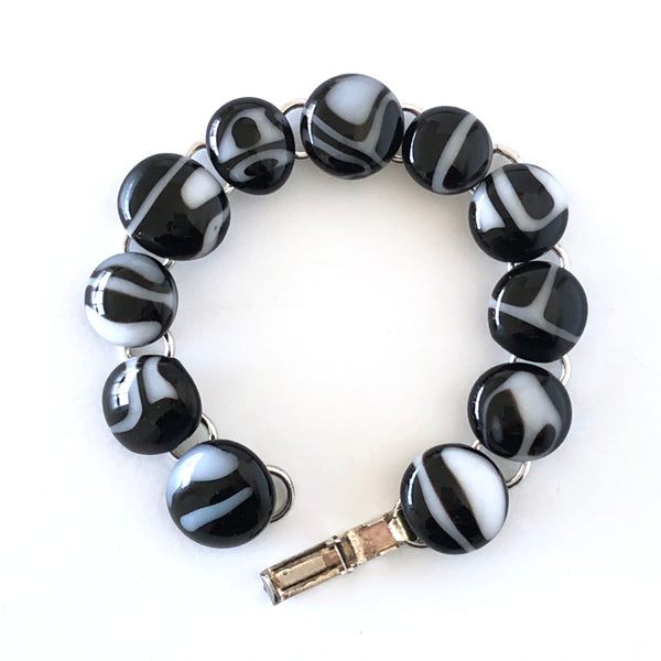 Black & White fused glass link bracelet, handmade in Australia