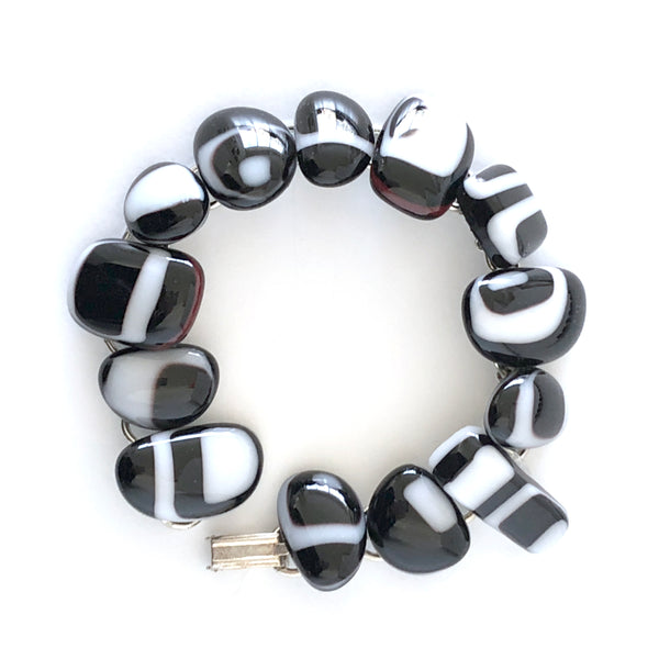 Handmade fused glass bracelet in classic black and white