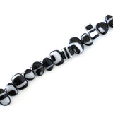 Handmade fused glass link bracelet in classic black and white
