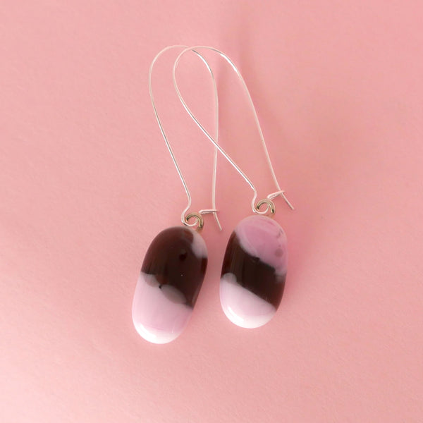 pink and dark purple oval drop earrings