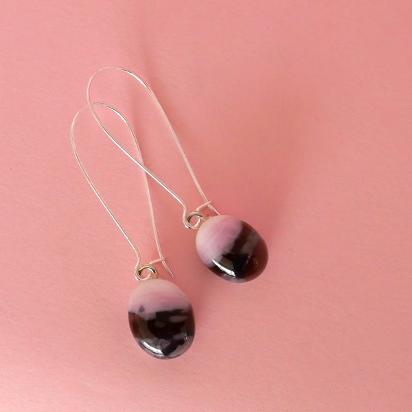 Slightly oval shaped drop earrings