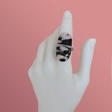 long oval fused glass statement ring