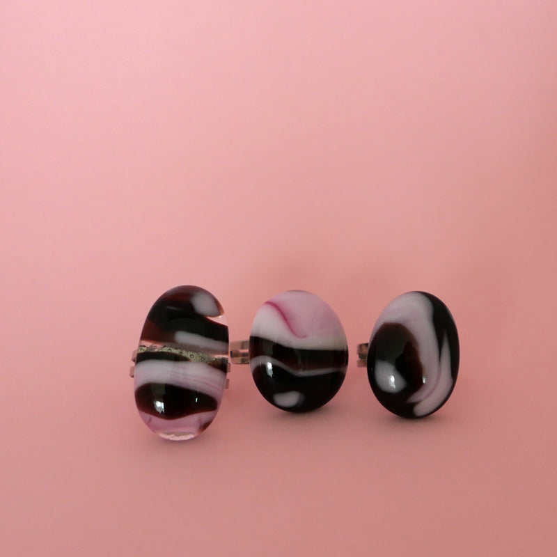 pink and burgundy round statement rings, handmade in Australia
