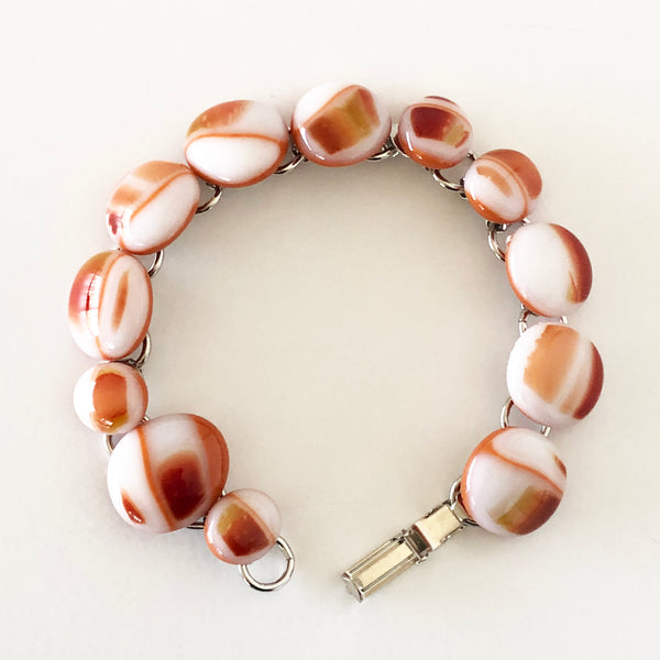 Handmade fused glass bracelet in fall colours, brown and terracotta