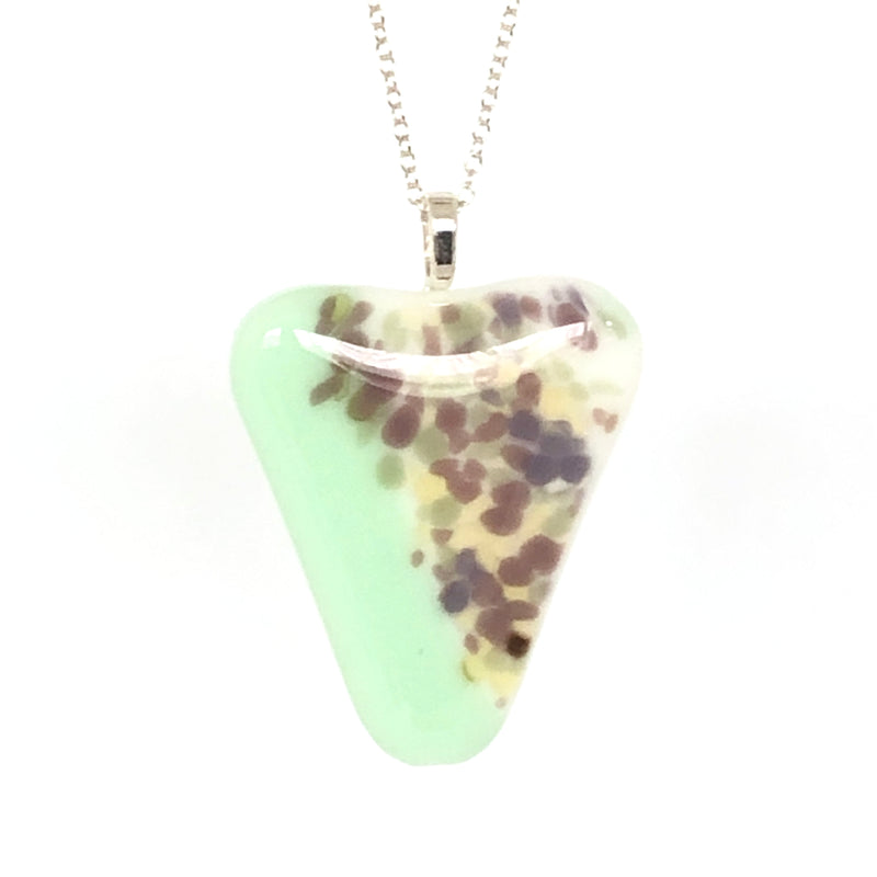 Uniquely shaped triangle fused glass pendant