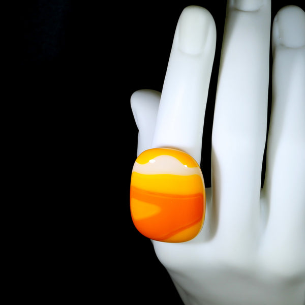 bold bright orange white fused glass ring, one of a kind