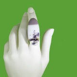 large oval statement ring, white and purple fused glass