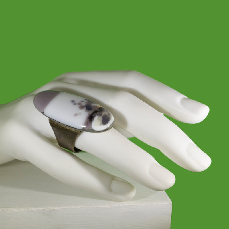 White and purple statement ring with purple, handmade in Australia