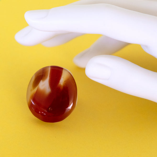Round warm red / brown glass statement ring