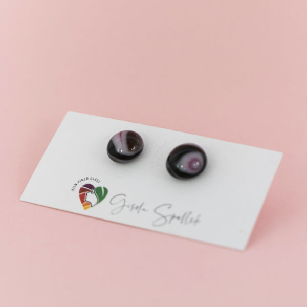 pink and dark purple round fused glass stud earrings with unique pattern