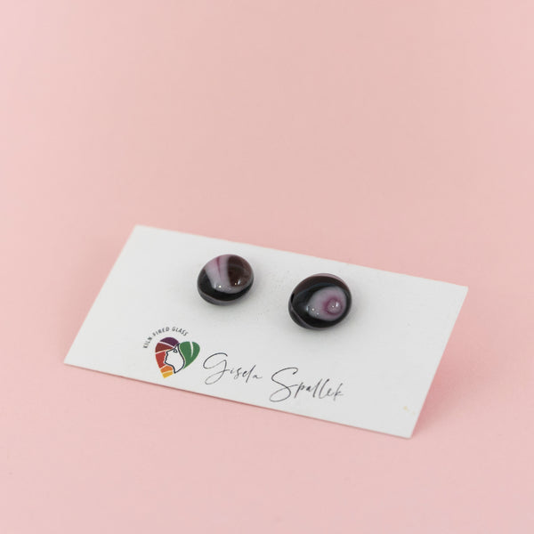 Burgundy and pink stud earrings, handmade fused glass