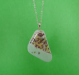 Pastel coloured fused glass pendant, handmade