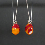 unique, bright orange with red, handmade dangling earrings