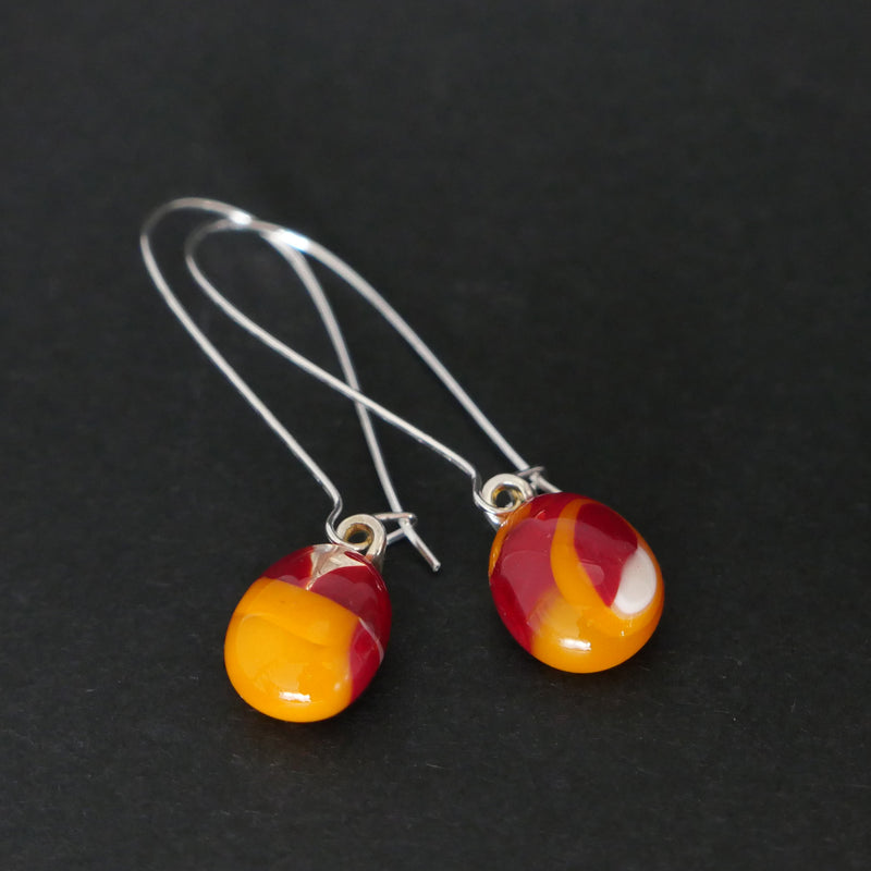 Handmade orange / red fused glass drop earrings
