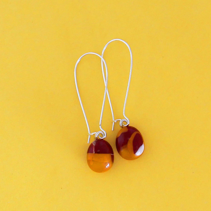 One of a kind, handmade fused glass dangling earrings in sunset colours