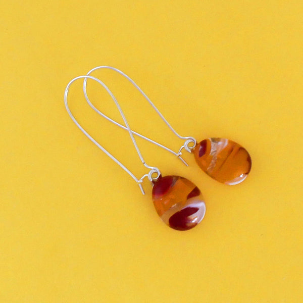 Fused glass drop earrings, handmade, in sunset colours