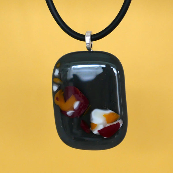 One of a kind, handmade fused glass pendant with intricate pattern