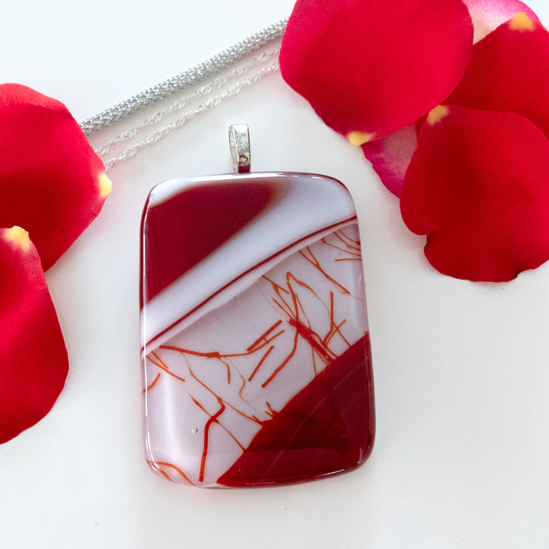A Fiery Heart | Fused Glass Pendant  | Bold Red Statement Pendant