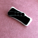 black and white fused glass brooch to add a focal point to your outfit