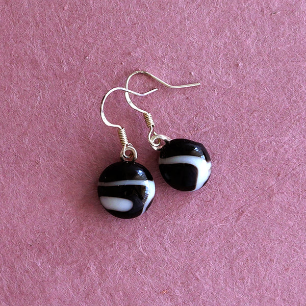 Fused glass drop earrings, handmade, in black and white