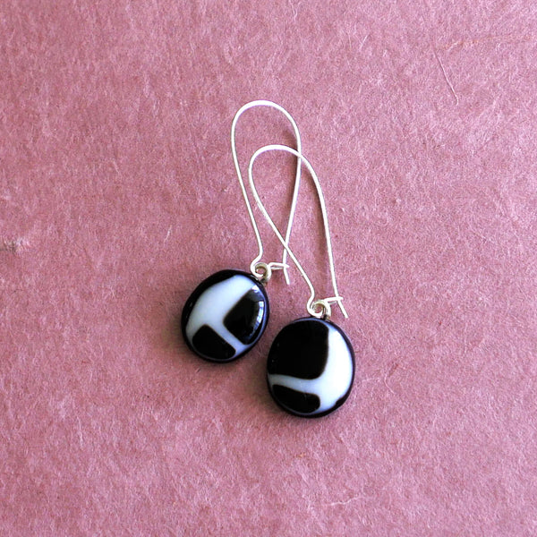drop earrings, fused glass, handmade