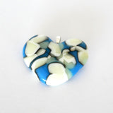 Handmade fused glass heart pendant, opaque blue and vanilla cream