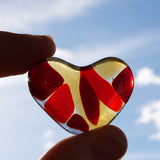 Pocket heart, worry stone, fused glass, rainbow