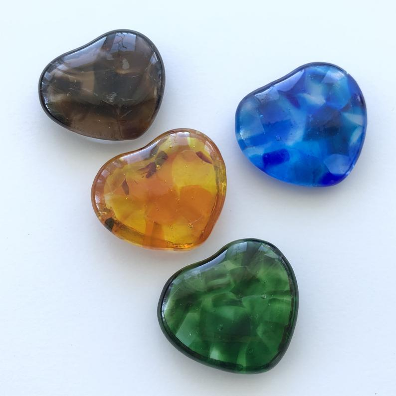 Fused glass pocket hearts, different colours