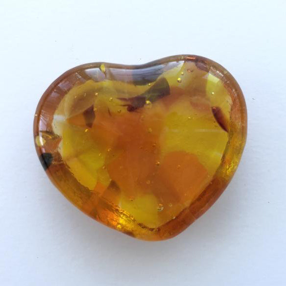 Heartfelt gifts - Yellow glass pocket heart, worry stone, token of your love