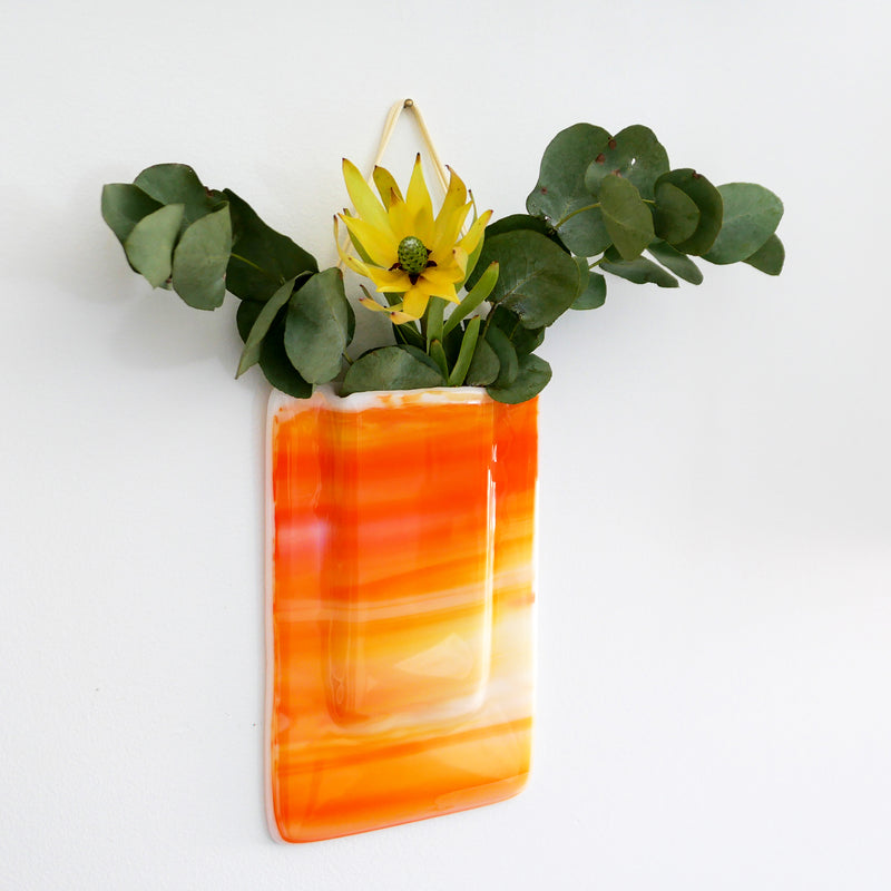 Orange wall vase for real, dried or artificial flowers
