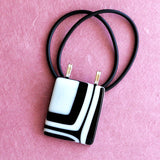 contemporary black and white statement pendant