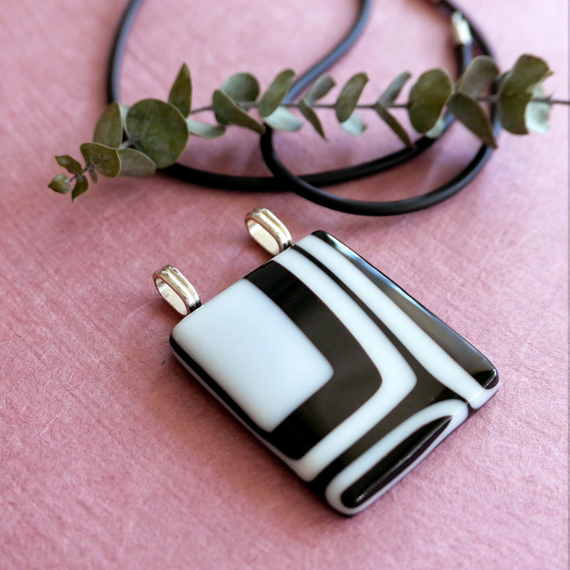 Black & White expressive one-of-a-kind pendantt