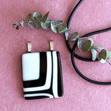 geometric bold black and white fused glass pendant