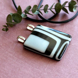 large black and white statement pendant, handmade fused glass