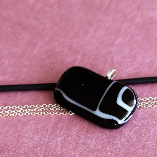abstract black and white fused glass pendant