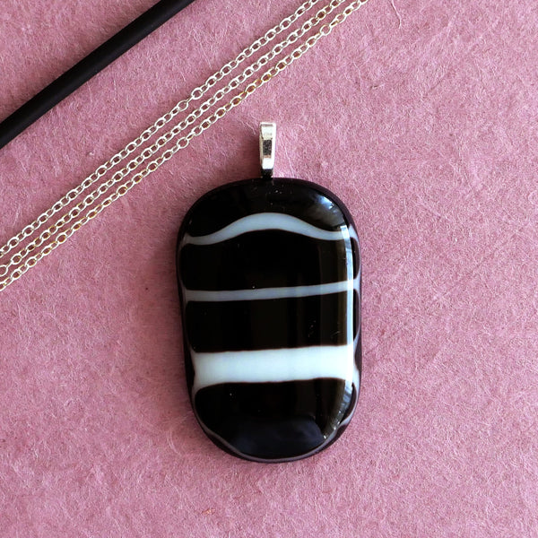 handmade elegant black pendant with white stripes