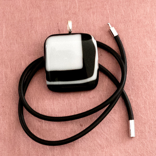 square black & white fused glass pendant, handmade