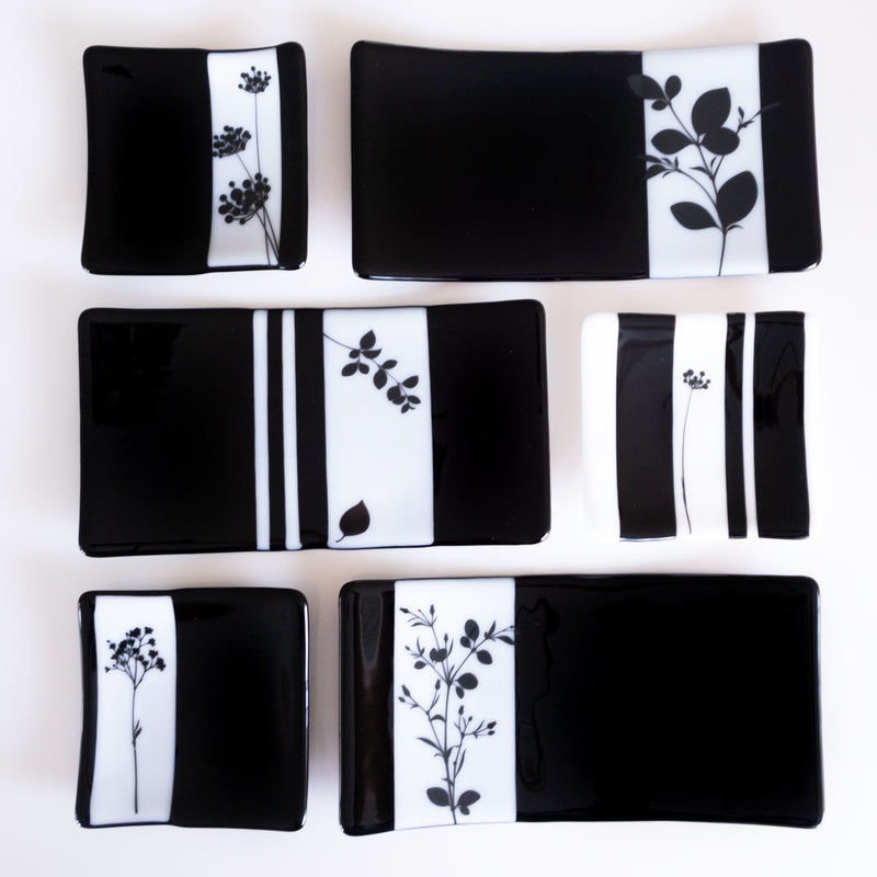 collection of plates, sushi plate, black and white with floral accent