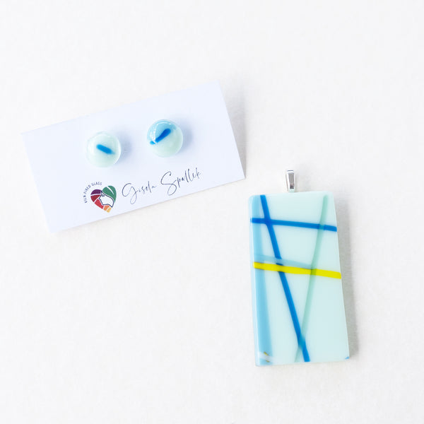Serious Stripes | Stud earrings - Medium, light blue