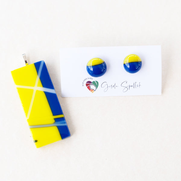 Serious Stripes | Stud earrings - Medium, yellow + blue