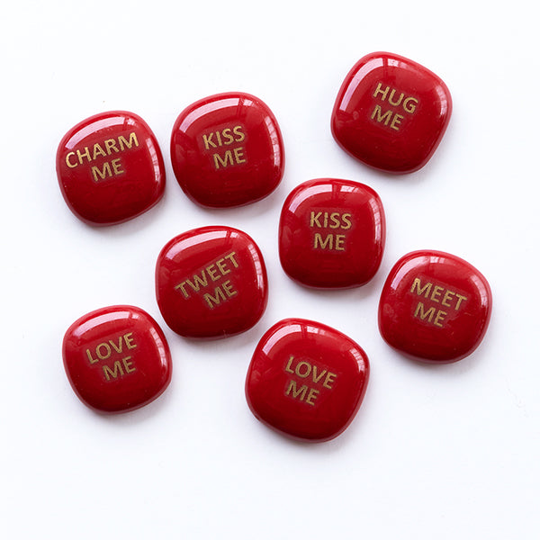 Red Glass stones with golden Valentine message