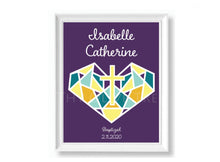 Load image into Gallery viewer, Personalized Art Print: Birth, Baptism, First Holy Communion Remembrance - Purple