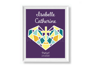Personalized Art Print: Birth, Baptism, First Holy Communion Remembrance - Purple